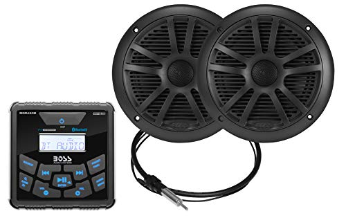 Boss Audio Systems MCKGB450B.6 Weatherproof Marine Gauge Receiver and Speaker Package - IPX6 Receiver, 6.5 Inch Speakers, Bluetooth Audio, USB MP3, AM FM, NOAA Weather Band Tuner, NO CD Player ()
