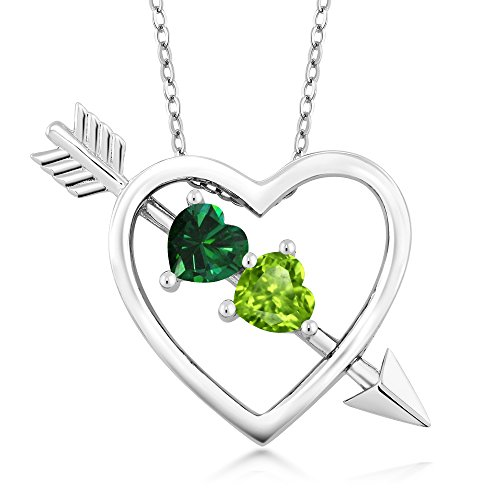 Gem Stone King 0.85 Ct Green Simulated Emerald Green Peridot Sterling Silver Heart and Arrow Pendant