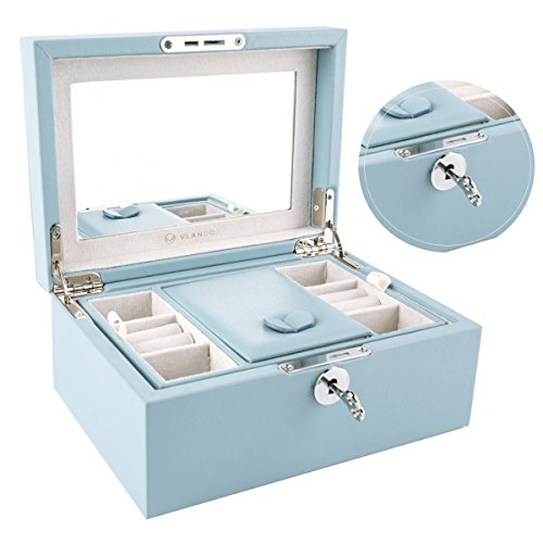 Vlando Retro Lockable Wooden Jewelry Box Organizer w/Large Mirror & Key - Microfiber PU Leather Case - Best Gifts for Women Girls - Air Blue