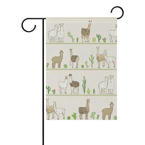 Double Sided Summer Desert Green Cactus and Camel Alpaca Polyester Garden Flag Banner 12 x 18 Inch for Outdoor Home Garden Flower Pot -