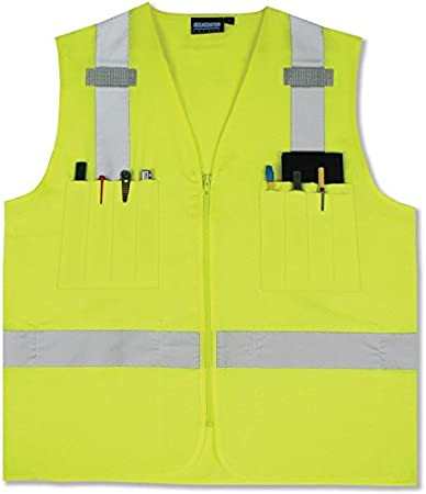 Yellow//Lime Class 2 Reflective Surveyor Construction Safety Vest With Pockets