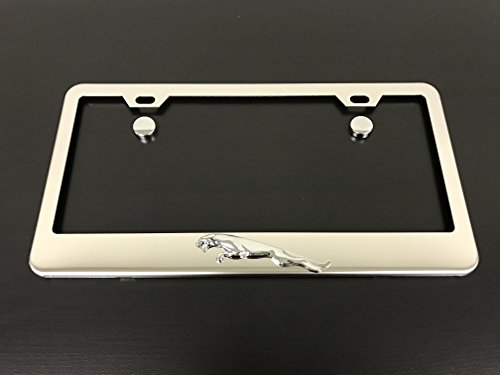 1 pc 3D Jaguar Leaper Stainless Steel Chrome License Plate Frame Tag Holder with Screw Cap Covers by Deepro