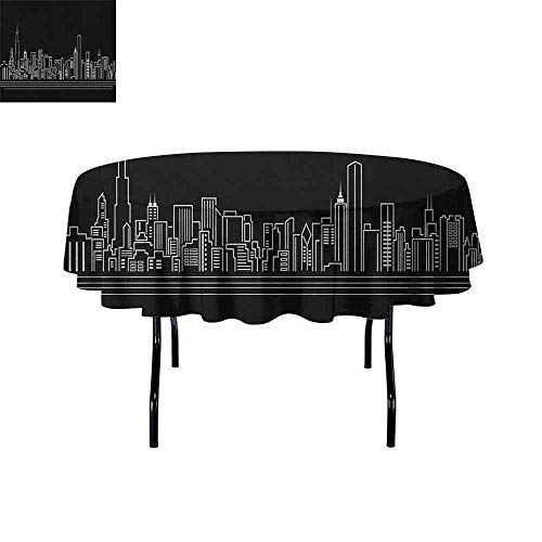 DouglasHill Chicago Skyline Waterproof Anti-Wrinkle no Pollution Line Abstract Style Urban Silhouette of Popular American Town Office Print Table Cloth D55 Inch Onyx - Oval Faux Onyx