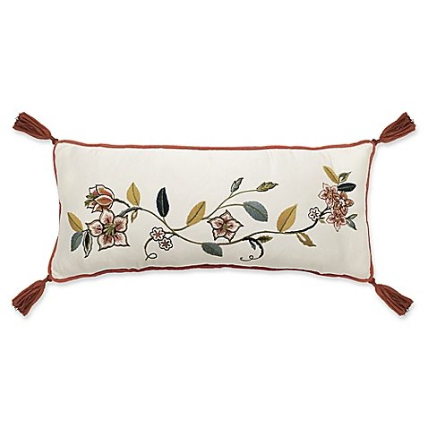 WAVERLY Brighton Blossom Embroidered Throw Pillow in Red/White