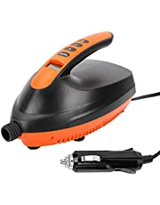Rechargeable Air Pump, Sup Paddle Rubber Boat Kayak Dc Tram Electric Booster Pump Charging Pump Ht-781 Black with Orange, High Pressure Portable 12V Digital Air Pump for SUP & Paddle Board