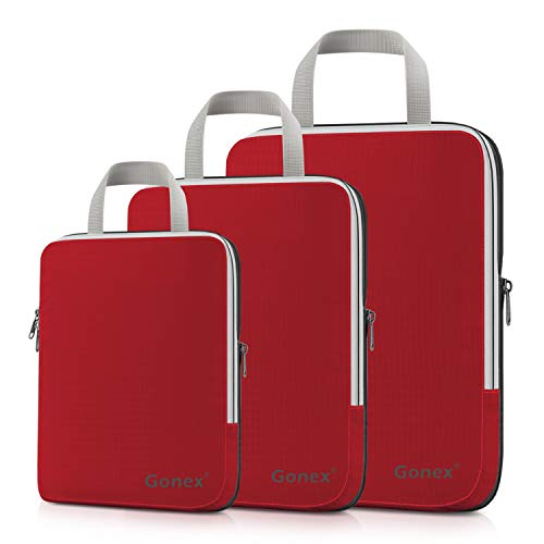 Compression Packing Cubes, Gonex Travel Organizers Upgraded 3PCS L+M+S(Red)