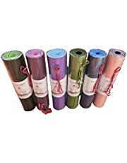 Plyier Yoga Mat TPE Two-color Non-slip Yoga Mat Very Good Quality and Great Elasticity with Indicator Line and Lashing Strap