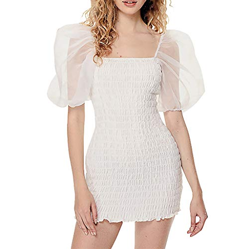 (Women's Puff Sleeve Mini Dress Sexy Lace Patchwork Wrap Dress Solid Shirred Bodycon Dresses (L, White))