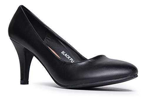 Closed Classic Sale Pu Heeled Casual Dress high Kitten Work Black Party Mid Pumps Pump Toe Heel Comfortable Women's FRw5dqR