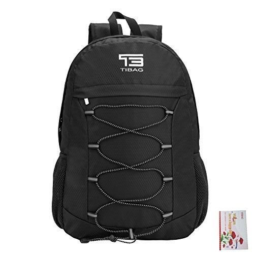 25L/30L/35L SOMISS Water Resistant Lightweight Packable Foldable Daypack Backpack (25L, BLACK)
