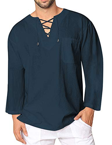 - COOFANDY Mens Fashion T Shirt Cotton Tee Hippie Shirts V-Neck Long Sleeve Yoga Top for Men,Blue,XX-Large