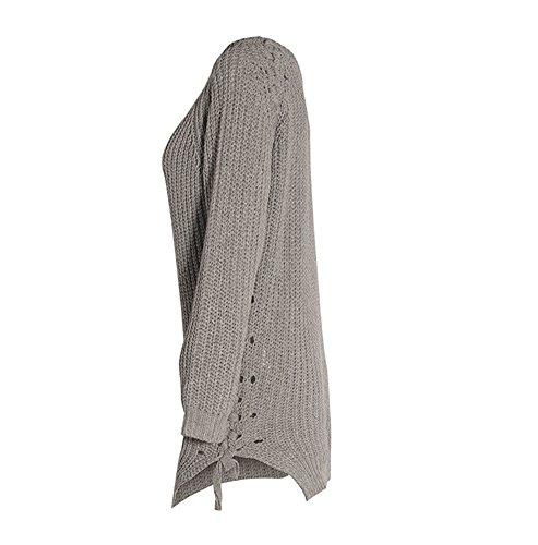 YOUJIA Mujeres Chunky Jerséy Suéter Irregular Lace Up Jerséis Jumper Mini vestido Gris