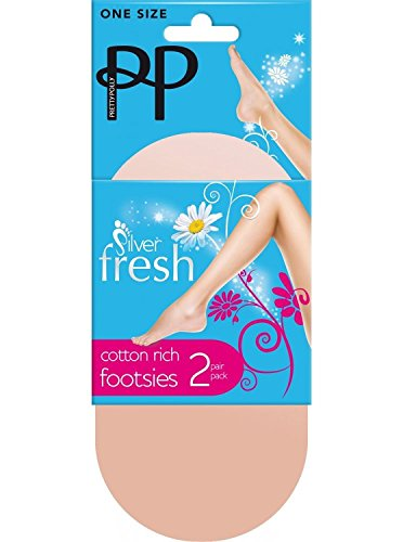 (Pretty Polly Silver Fresh Cotton Footsies - 2 Pair Pack PNEL66 (One Size, Natural))