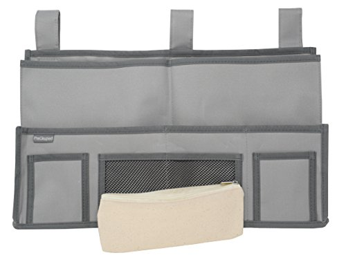 - PreOkupied Bedside Caddy Hanging Storage Organizer Butler Bag with 11 Pockets, Gray Polyester 600D Fabric, Complete with Beige/Cream Pencil Case