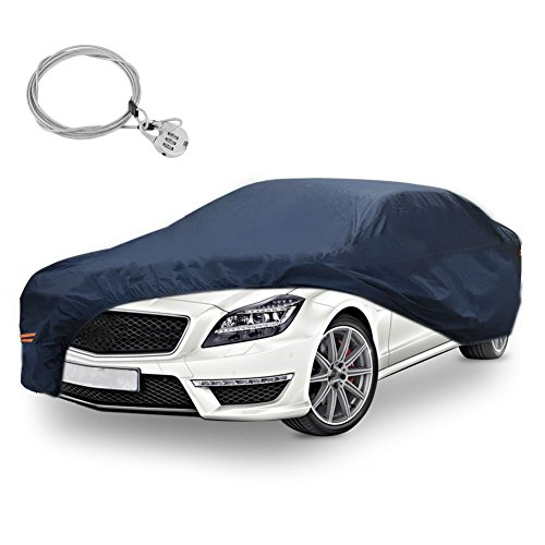 YITAMOTOR All Weather Proof Universal Fit Car Cover with Lock Full Breathable UV Dust Waterproof Sun Snow Heat Resistant Outdoor Protector (Fits Cars up to 188 inches, PEVA, Dark Blue)