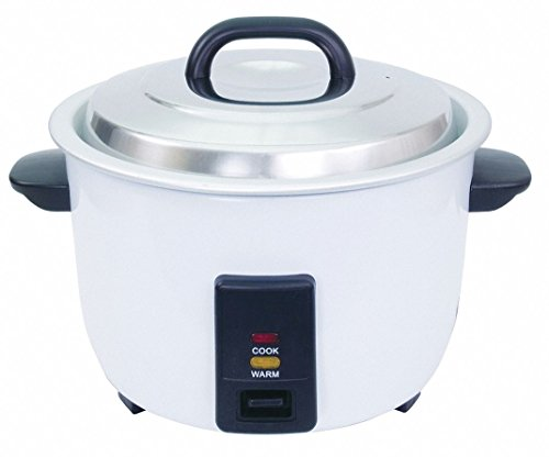 7-1/2 qt. Powder Coated Steel 30 Cup Electric Rice Cooker, White/Black