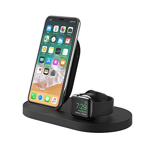 Belkin Boost Up Wireless Charging Dock for iPhone + Apple Watch + USB-A Port (Wireless Charger for iPhone XS, XS Max, XR, X, 8/8 Plus, Apple Watch 4, 3, 2, 1) - Black