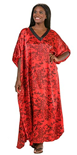 Winlar Satin Kaftans One Size Poly Charmeuse Caftan Lounger in Ruby Empire (Red/Black, One Size Fits Most) -