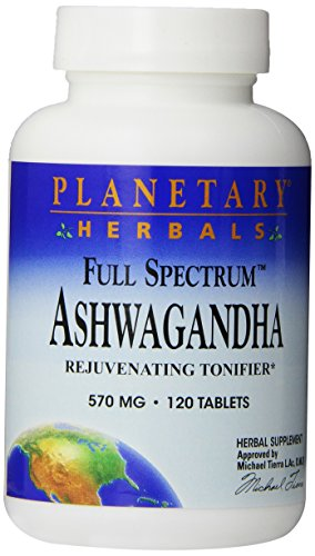 Planetary Herbals Ashwagandha Full Spectrum 570 mg, Rejuvenating Tonifier,120 Tablets