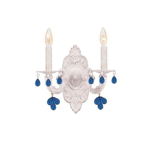 5200-AW-BLUE Wall Sconce with Blue Crystals, Antique White by Crystorama Lighting (Aw Blue Crystorama Lighting)