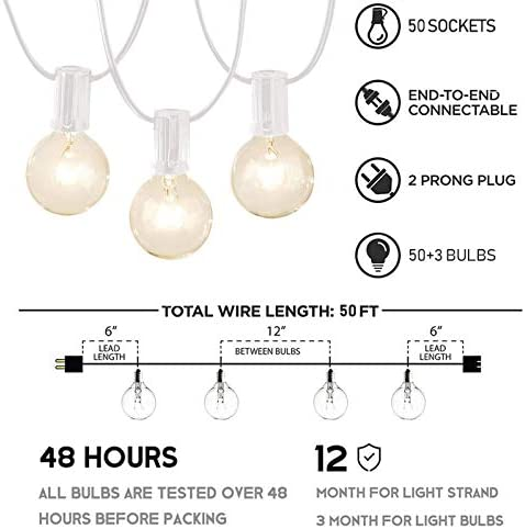 Afirst Outdoor String Lights 50 Ft with 52 Globe Bulbs Patio String Lights UL Certification Weatherproof Outdoor Hanging Lights for Garden Backyard Party Wedding-White Cord