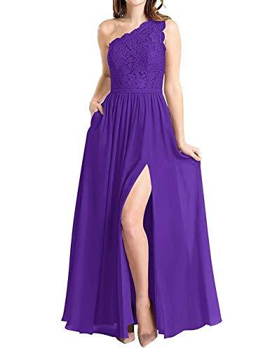 BBCbridal Women's One Shoulder Long Evening Dress Lace Chiffon Bridesmaid Dress Side Split Prom Gowns Purple Size 2