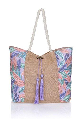 été plage Fourre varioues Violet Plumes toile Styles pour large femmes Shopping tout Sac Cw6fyqt