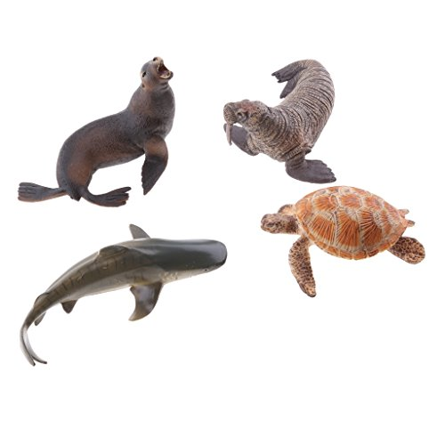 MagiDeal 4pcs Modèles Animal Marin Figurines Plastique Enfants Jouet éducatif Cadeau Décor Set #A