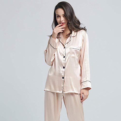 Elegante Seda Moda Piezas Pijamas Larga Hielo Mujeres Champagne Marca Conjunto Ropa Suelto Mode Dormir Manga Dos De vCCRxq