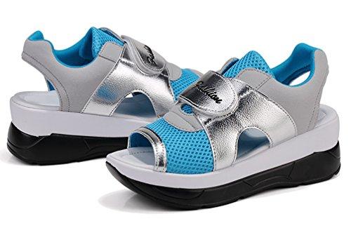 VECJUNIA Ladies Casual Hollow Out Open Toe Hook-and-Loop Platform Beach Sandals Blue pQZij