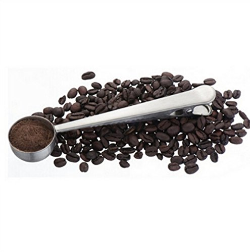 HS 1PC Stainless Steel Coffee Scoop With Bag Clip