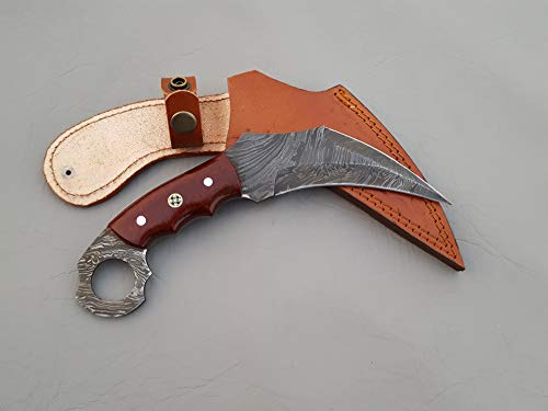 Handmade Damascus Steel Fighting Karambit Knife with Leather Sheath weapon 9.00 Inches vk9010