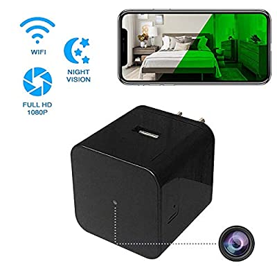 Hidden Spy Camera - Wireless Home USB Security Camera with Charger - Best Mini Spy Cam WiFi 1080p - Night Vision Security Spy Camera with Motion Detector - Small Nanny Spy Camera for Women Men Black