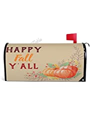 Fall Halloween Gray White Pumpkin Family Monogram Magnetic Mailbox Cover Standard Size Canvas Welcome Mailwraps Farmhouse Wraps Post Box Garden Yard Home Decor for Outdoor