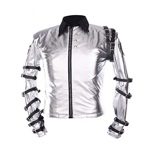 III-Fashions Classic MJ Michael Jackson Bad Concert Tour Punk Belts Costume Silver Satin Biker Jacket -