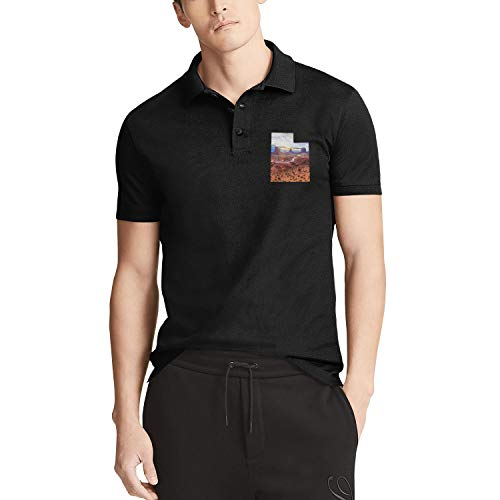 - Godfer Arabe Utah State Outline Monument Valley Short Sleeve Classic Polo T-Shirts for Men