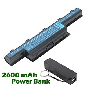 Battpit Bateria de repuesto para portátiles ECS G730 (4400mah / 48wh) con 2600mAh Banco de energú} / baterú} externa (negro) para Smartphone