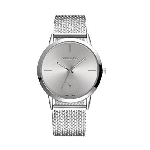 (Jaylove 2018 Fashion High Hardness Glass Mirror Men and Women Wristatchs General Mesh Belt PU Leather Quartz Watch (Silver))