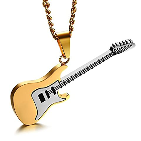 Stainless Steel Rock Punk Electric Guitar Bass Music Lovers Pendant Necklace (Gold) - Electric Guitar Necklace Jewelry