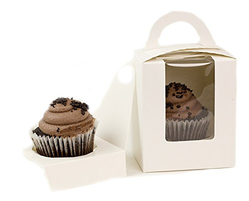 White Cupcake Box With Window, 12 Count, Cupcake Container 4 1/2 Inches Tall, With Carrying Handle and Easy Access Cupcake Holder- 200 Count by Chefible®