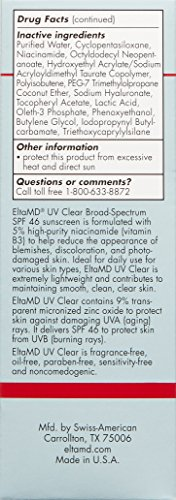 EltaMD UV Clear Facial Sunscreen Broad-Spectrum SPF 46 for Sensitive or Acne-Prone Skin, Oil-free, Dermatologist-Recommended Mineral-Based Zinc Oxide Formula, 1. 7 oz