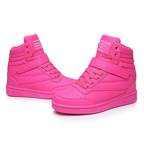 UBFEN Frauen Schuhe Versteckte Wedges 7cm Stiefeletten Mode Sneaker High Top Bootie Wohnungen Plattform Lässig Rosa