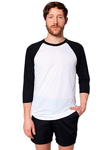 (American Apparel  Unisex Poly-Cotton 3/4 Sleeve Raglan Shirt, White/Black, X-Small)