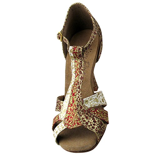 ~50 Shades Of Bronze Dance Dress Shoes Collection, Comfort Evening Wedding Pumps: Women Ballroom Shoes For Latin, Tango, Salsa, Swing, Theather Art by Party Party (2.5 & 3 Heels) S2806 Copper & Red & White