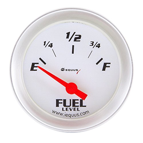 "Equus 8362 2"" Fuel Level Gauge, White with Aluminum Bezel"
