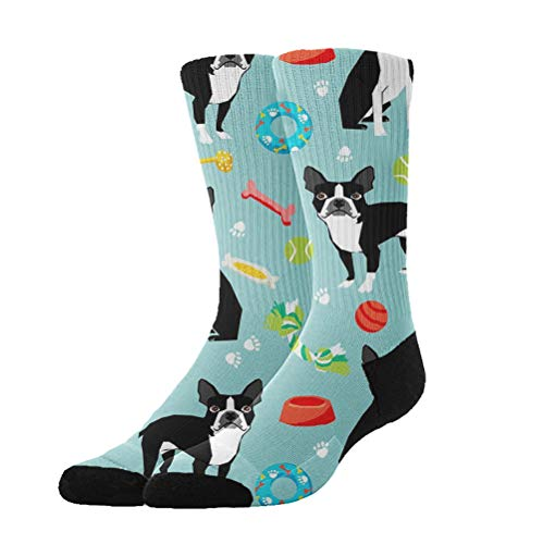 YEAHSPACE Novelty Gifts - Boston Terrier Toys Dog - Non Slip Anti-Skid Cotton Casual Athletic Socks,Colorful Fancy Dress Socks for Women Men -