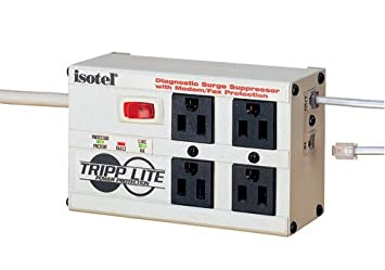 Tripp Lite Isobar 4 Outlet Surge Protector Power Strip, Tel Modem, 6ft Cord Right Angle Plug, 50K Insurance ISOTEL