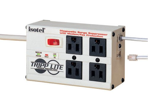 Tripp Lite Isobar 4 Outlet Surge Protector Power Strip, Tel/Modem, 6ft Cord Right Angle Plug, & $50K INSURANCE (ISOTEL) by Tripp Lite