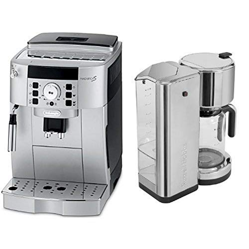DeLonghi ECAM22110SB Compact Automatic Cappuccino, Latte and Espresso Machine and Russell Hobbs CM7000S 8 Cup Coffeemaker, Stainless Steel Bundle