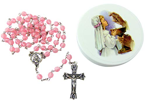 Westman Works Girl's First Communion Rosary Rose Shaped Bead Catholic Gift Set with Case